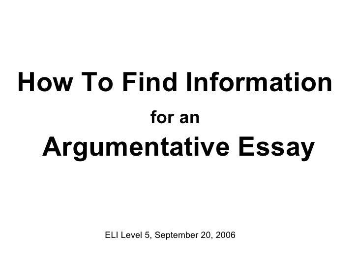 How To Find Information - Argumentative Essay