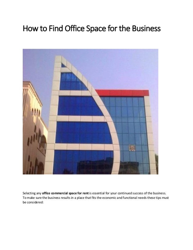 How To Find Office Space For The Business