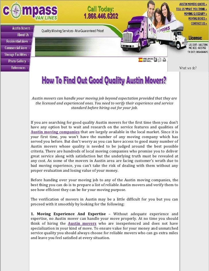 How To Find Out Good Quality Austin Movers?