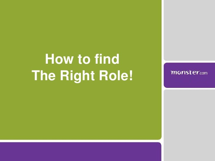 How to find <br />The Right Role!<br />