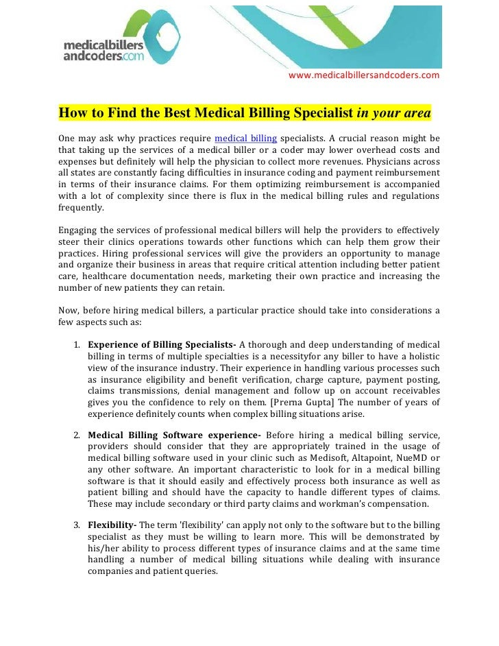 How to Find the Best Medical Billing Specialist in your area<br />One may ask why practices require medical billing specia...