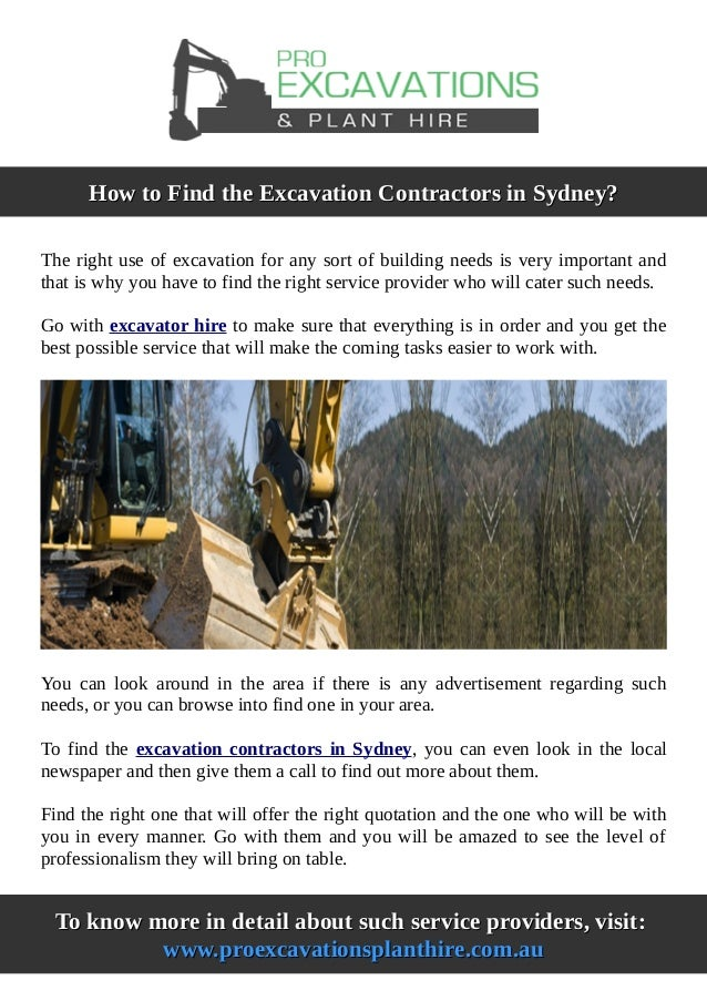 How to find the excavation contractors in sydney - Contractor how to find one ...