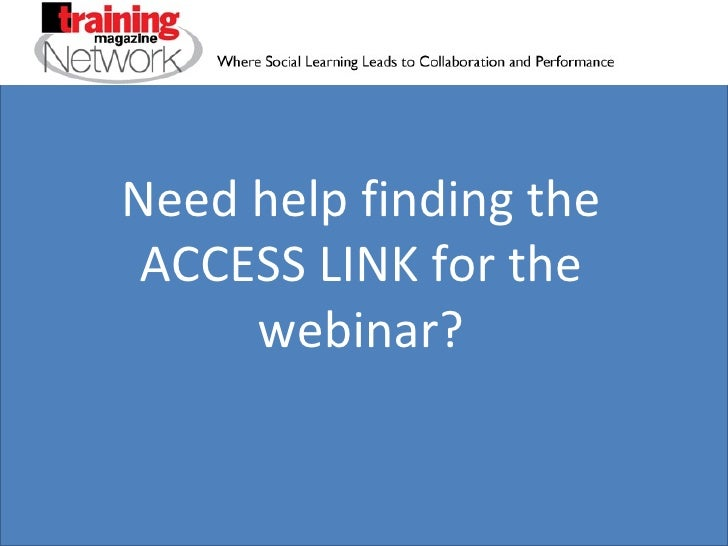 How to find the webinar access link for Training Magazine Network webinar