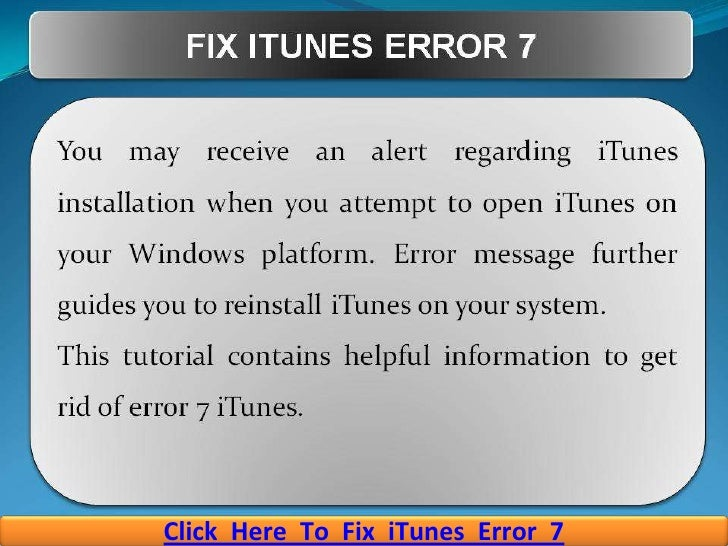 How To Fix iTunes Error 7