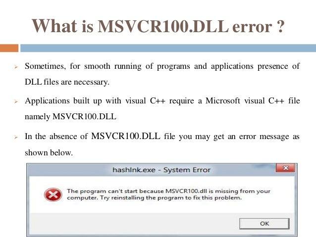 msvcr100 dll  for windows 8