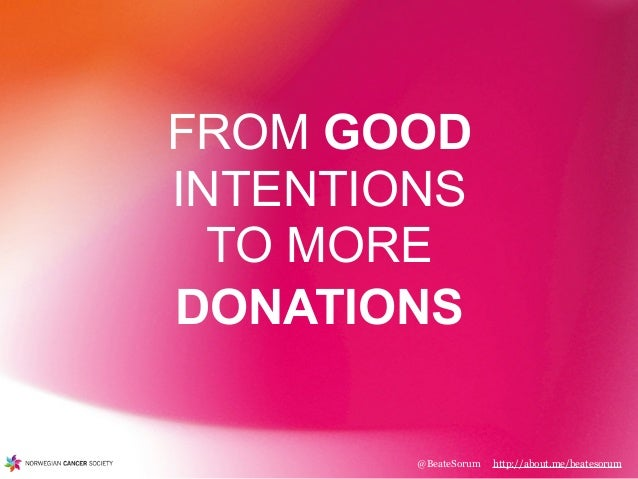 @BeateSorum http://about.me/beatesorum FROM GOOD INTENTIONS TO MORE DONATIONS