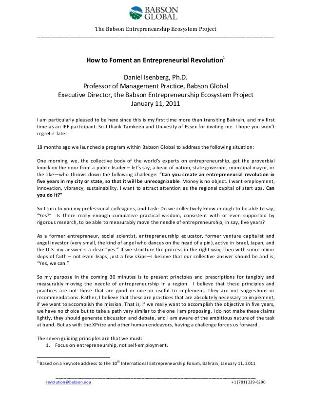 How to Foment an Entrepreneurial Revolution: IEF (January 12, 2011)