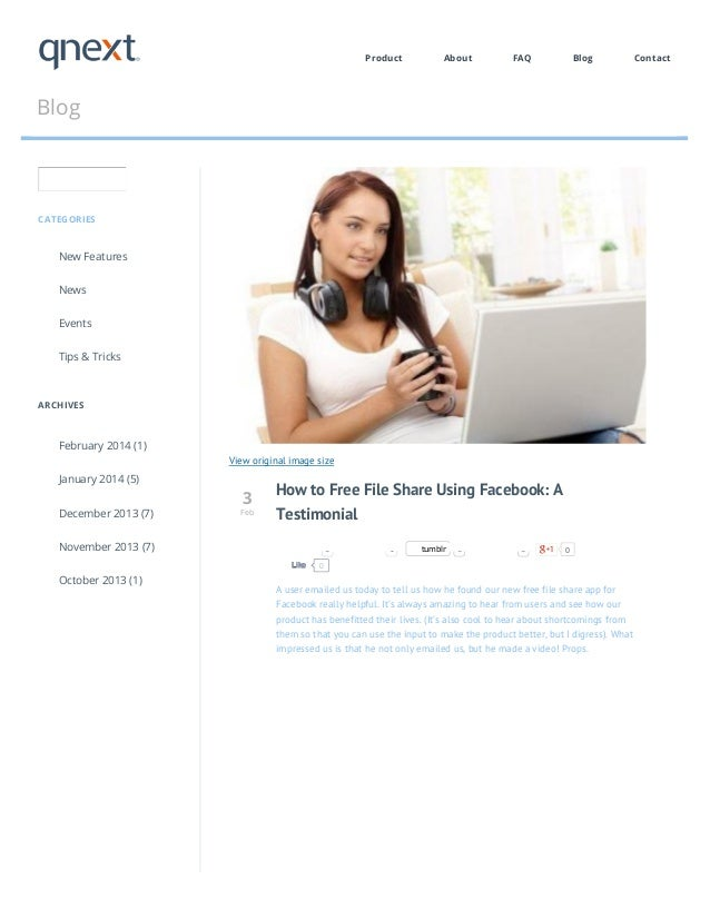 Product  About  FAQ  Blog  Blog  CATEGORIES  New Features News Events Tips & Tricks  ARCHIVES  February 2014 (1) View orig...