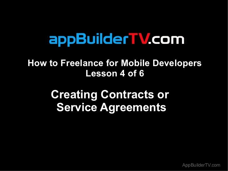 How to Freelance for Mobile Developers Lesson 4 - Creating Contracts or  Service Agreements