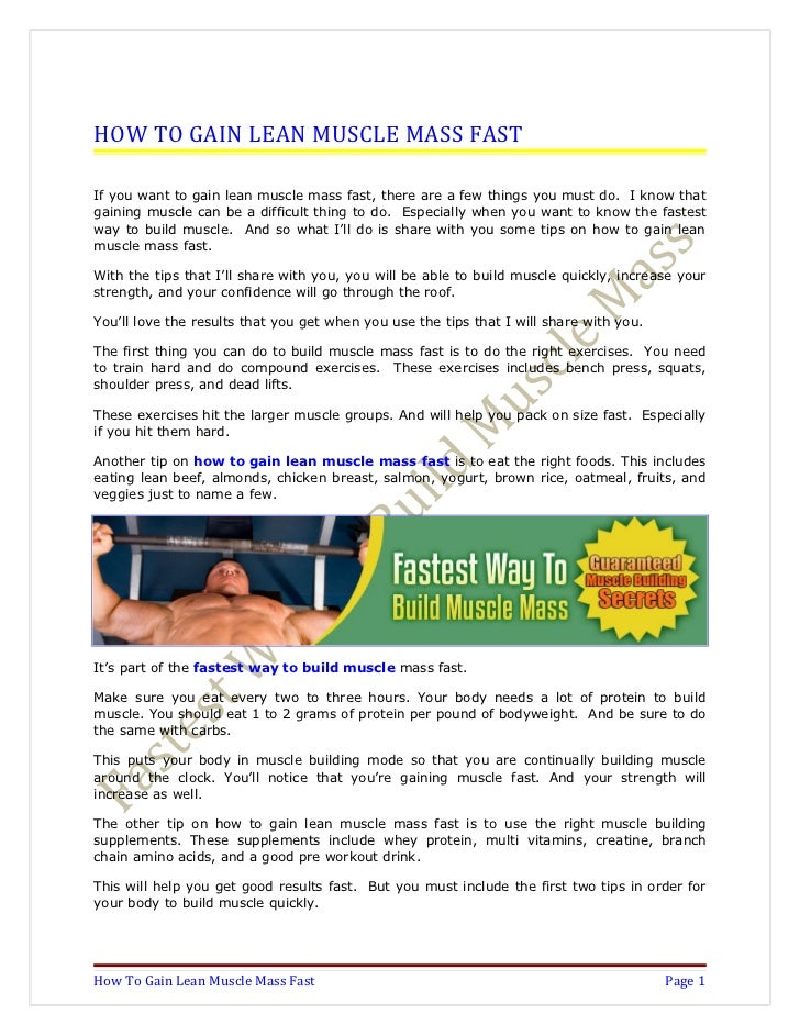 how to put on muscle mass fast