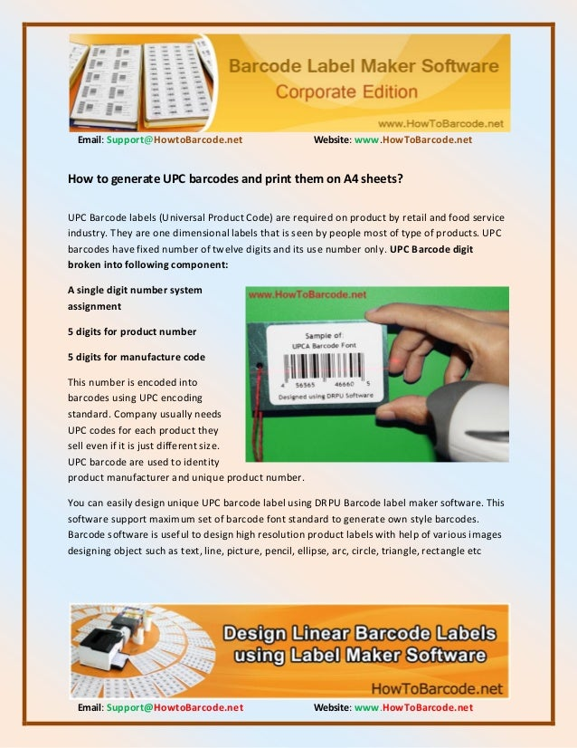 How to generate upc barcodes and print them on a4 sheets