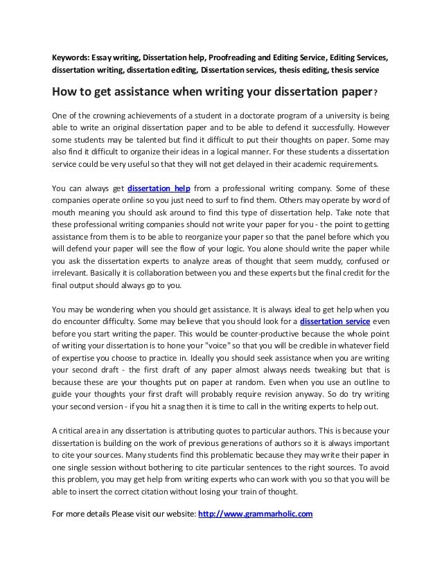 Get help writing a dissertation your