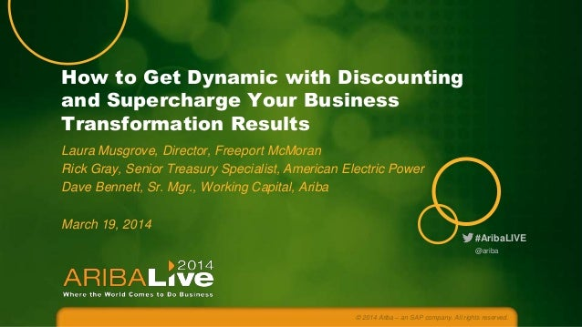 How to Get Dynamic with Discounting and Supercharge Your Business Transformation Results Laura Musgrove, Director, Freepor...