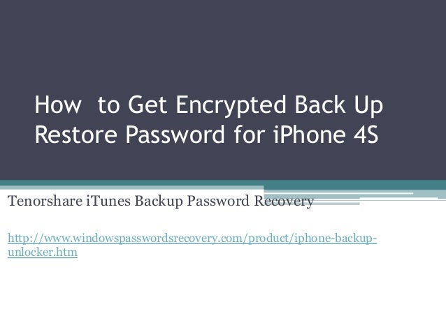 How to Get Encrypted iPhone Backup Restore Password