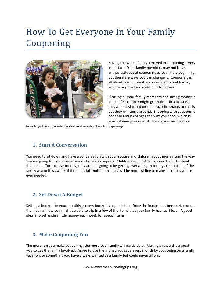 How To Get Everyone In Your FamilyCouponing                                                   Having the whole family invo...