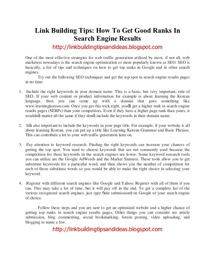 Link Building Tips: How To Get Good Ranks In                      Search Engine Results                     http://linkbui...