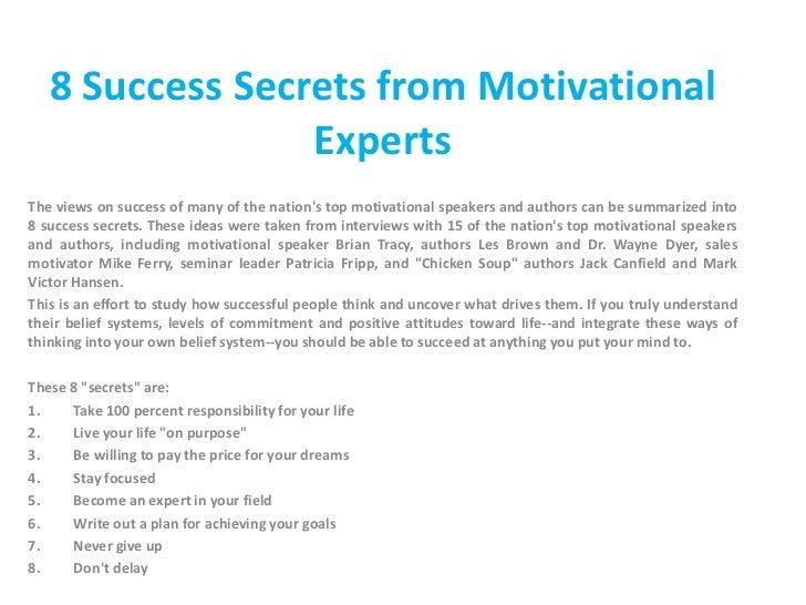 an essay on secret of success