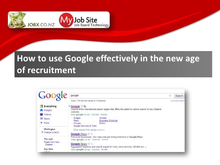How to get the best of google as a recruiter - a jobx presentation