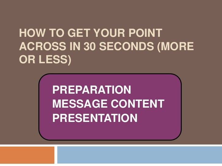 How to Get Your Point Across in 30 Seconds (more or less)<br />PREPARATION<br />MESSAGE CONTENT<br />PRESENTATION<br />