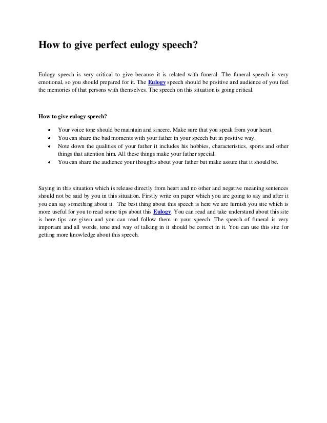 How to give perfect eulogy speech for Eulogy template for father
