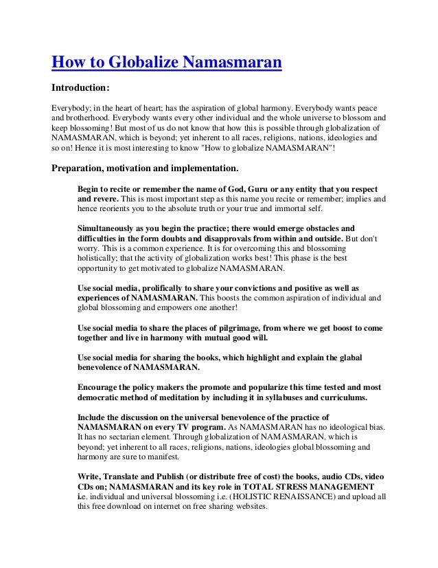 How to globalize namasmaran:Dr Shriniwas Kashalikar