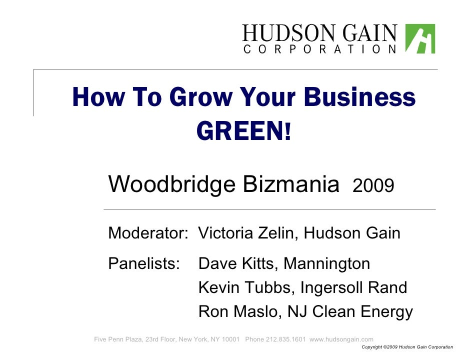 How To Grow Your Business Green, Woodbridge Bizmania October 2009