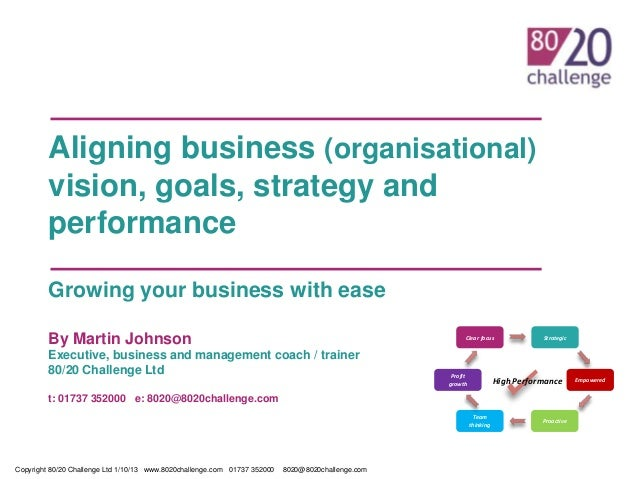 Aligning business (organisational) vision, goals, strategy and performance Growing your business with ease By Martin Johns...