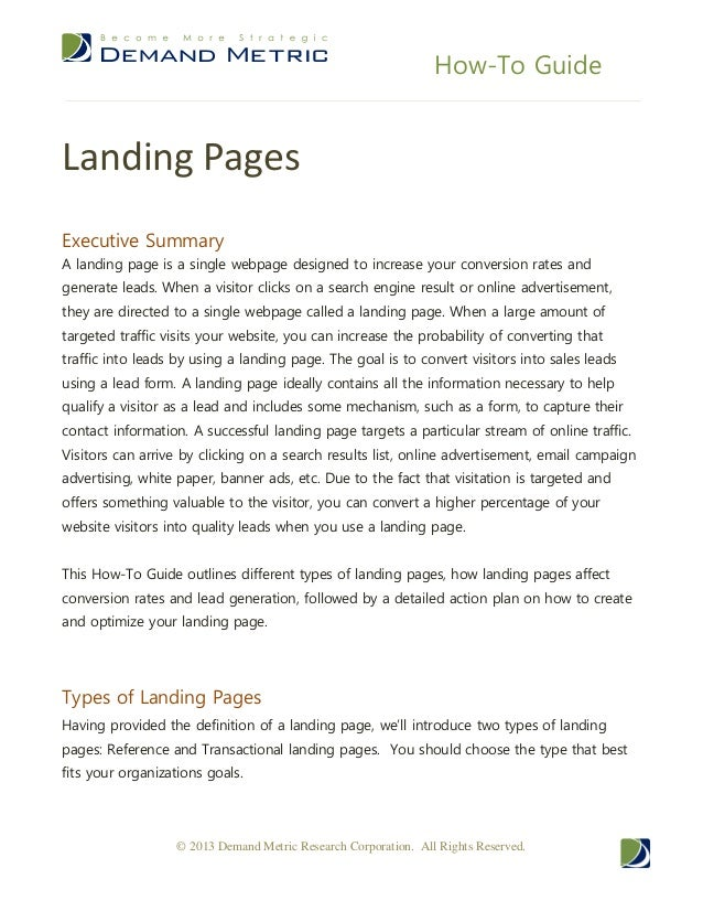 How-To GuideLanding PagesExecutive SummaryA landing page is a single webpage designed to increase your conversion rates an...