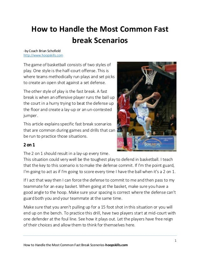 1 How to Handle the Most Common Fast Break Scenerios-hoopskills.com How to Handle the Most Common Fast break Scenarios -by...