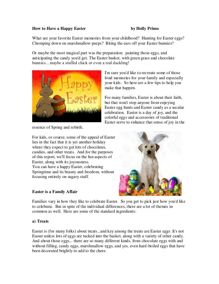 How to Have a Happy Easter                                 by Holly PrimoWhat are your favorite Easter memories from your ...