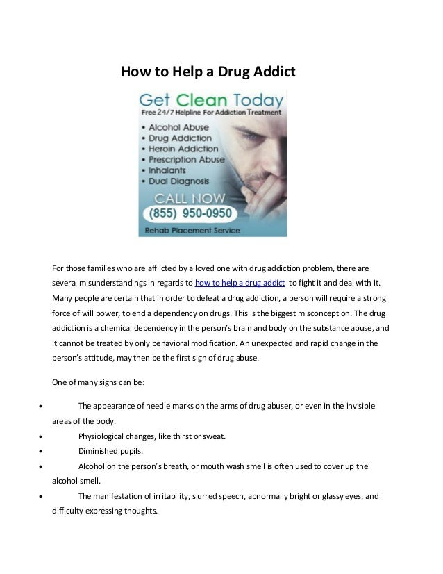 How to help a drug addict