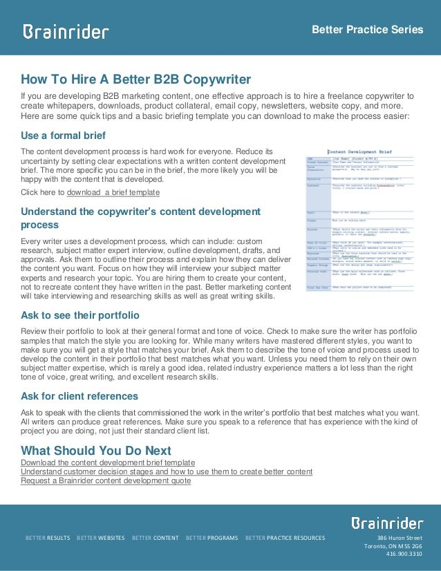 Better Practice SeriesHow To Hire A Better B2B CopywriterIf you are developing B2B marketing content, one effective approa...