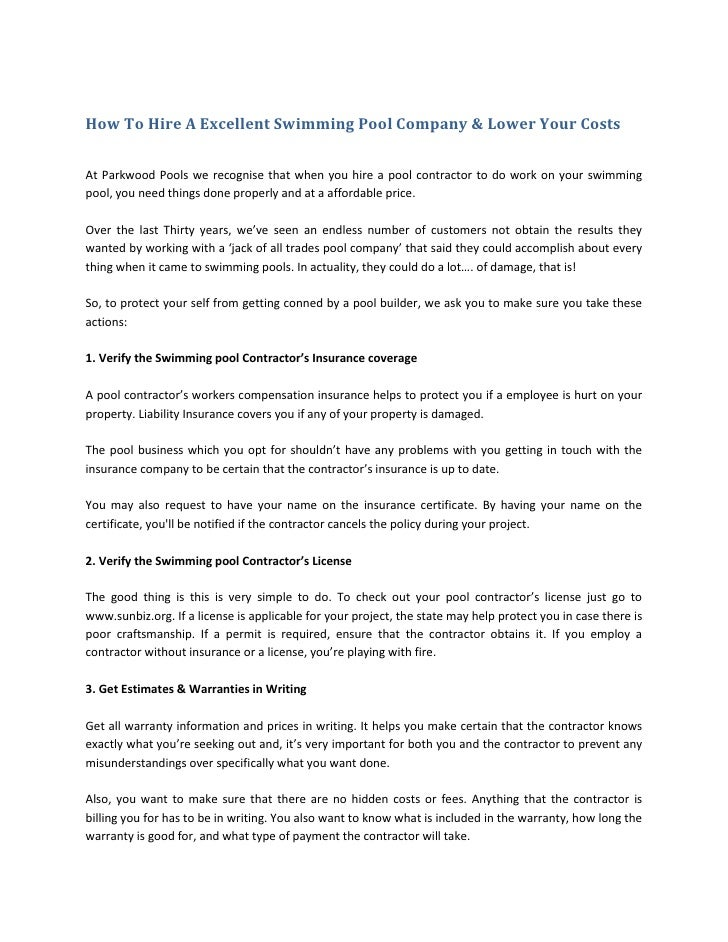 How To Hire A Excellent Swimming Pool Company & Lower Your CostsAt Parkwood Pools we recognise that when you hire a pool c...