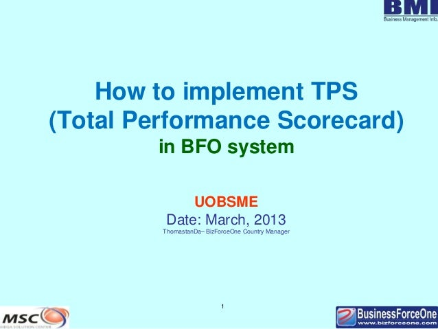 How to implement tps in bfo system v8