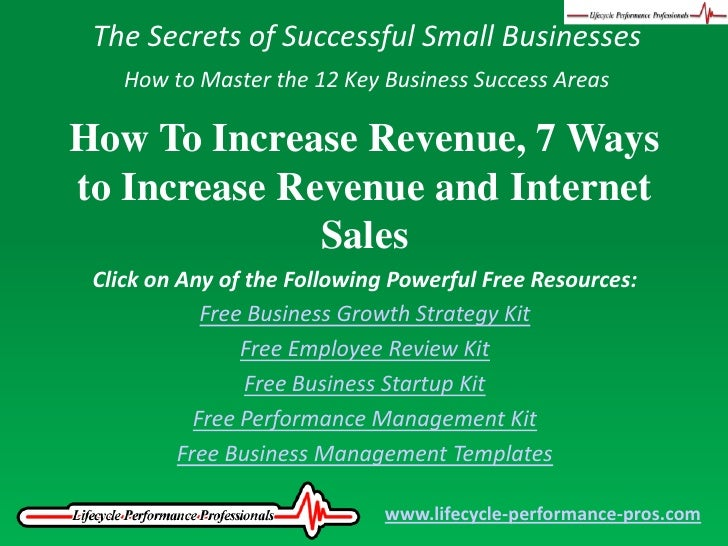 The Secrets of Successful Small Businesses<br />How to Master the 12 Key Business Success Areas<br />How To Increase Reven...
