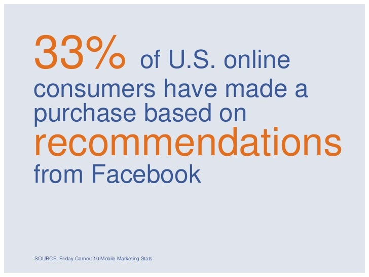 33% of U.S. onlineconsumers have made apurchase based onrecommendationsfrom FacebookSOURCE: Friday Corner: 10 Mobile Marke...