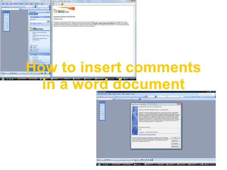 How to insert comments in a word document