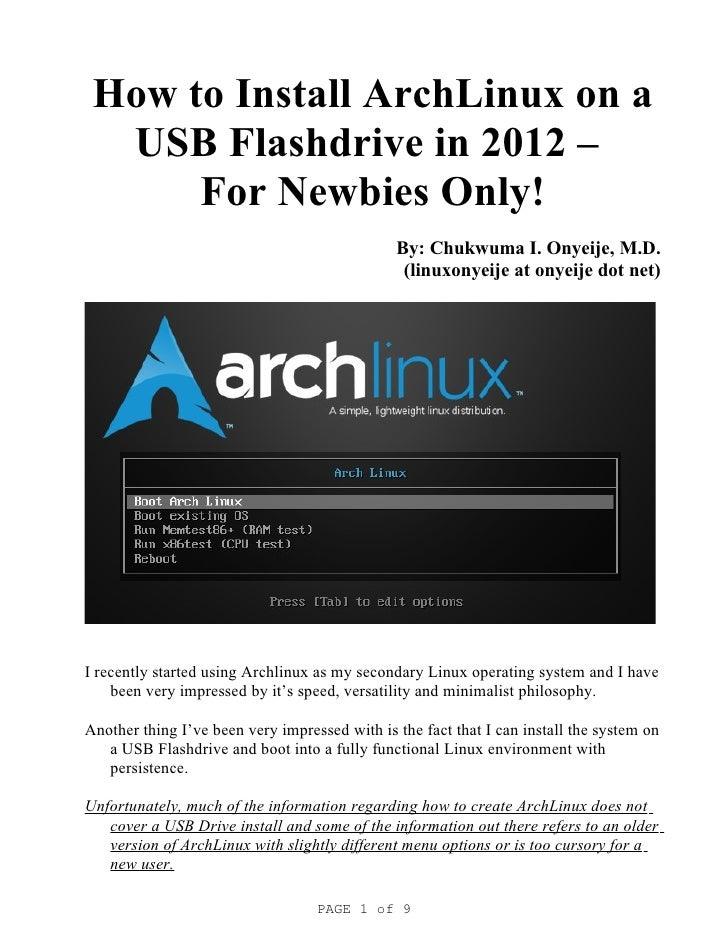 How to Install ArchLinux to a USB Flashdrive in 2012