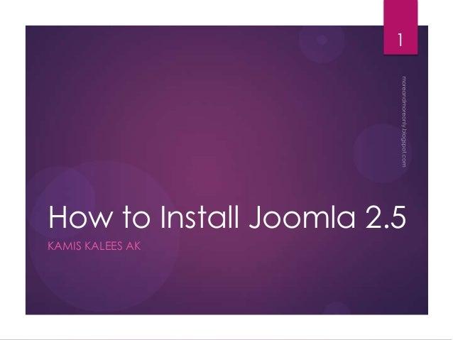 How to Install Joomla 2.5 KAMIS KALEES AK 1