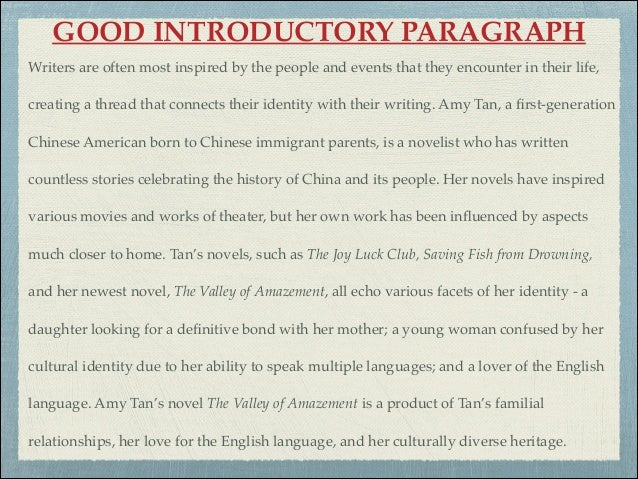 The Introduction Of An Essay Example