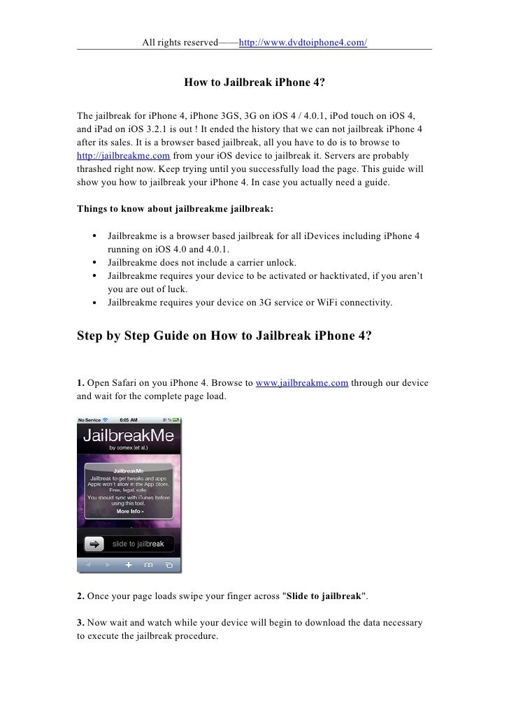 All rights reserved——http://www.dvdtoiphone4.com/                             How to Jailbreak iPhone 4?  The jailbreak fo...