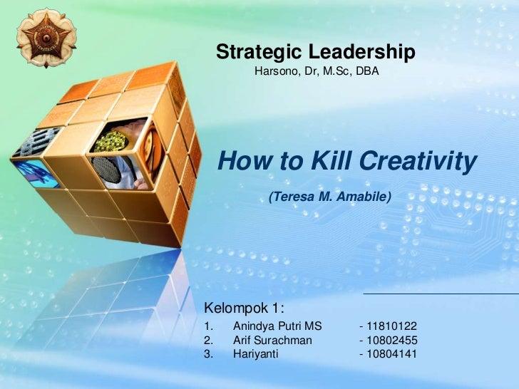 LOGO            Strategic Leadership                Harsono, Dr, M.Sc, DBA            How to Kill Creativity              ...