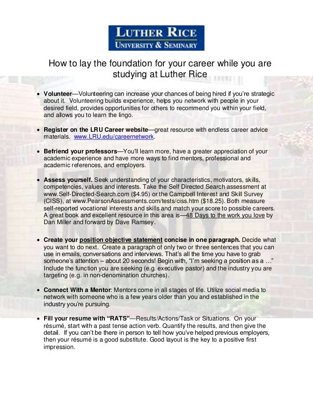 How to lay the foundation for your career while you are studying at Luther Rice  Volunteer—Volunteering can increase your...