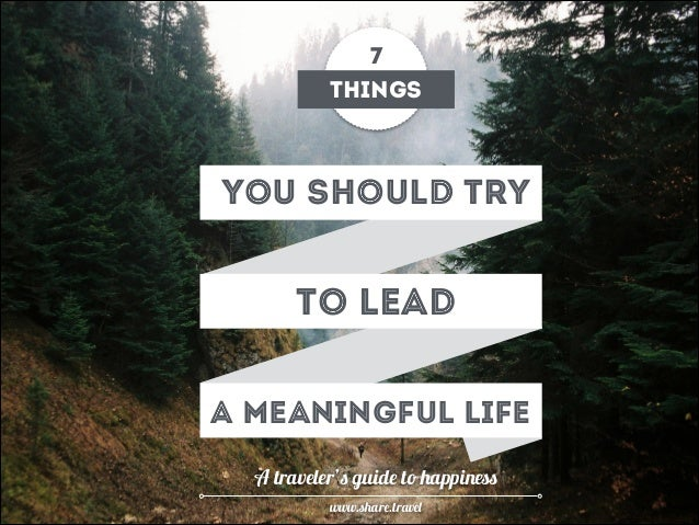 How to Lead a Meaningful Life. A Traveler's Guide to Happiness
