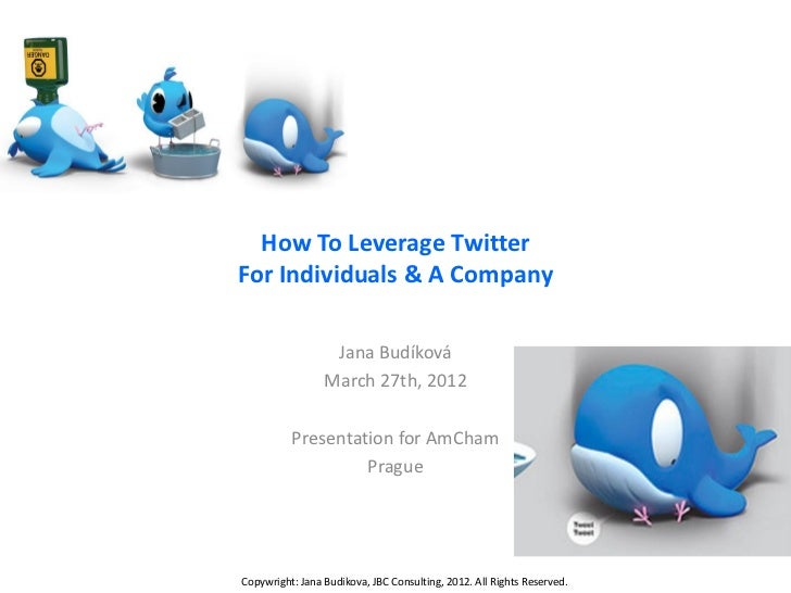 How To Leverage TwitterFor Individuals & A Company                  Jana Budíková                 March 27th, 2012        ...