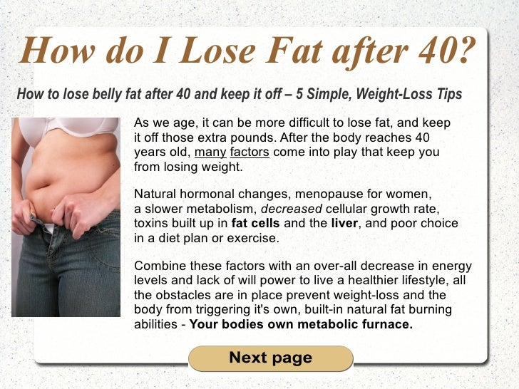 How do I Lose Fat after 40? As we age, it can be more difficult to lose fat, and keep  it off those extra pounds. After th...