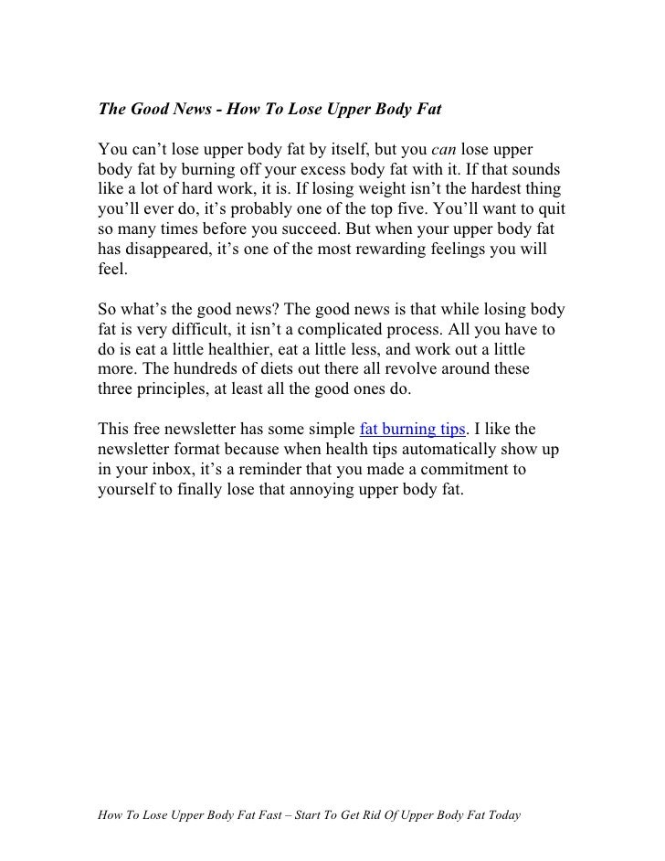 how to lose weight upper body