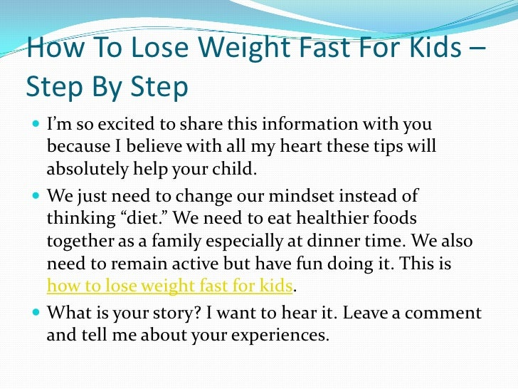 how to help my kid lose weight