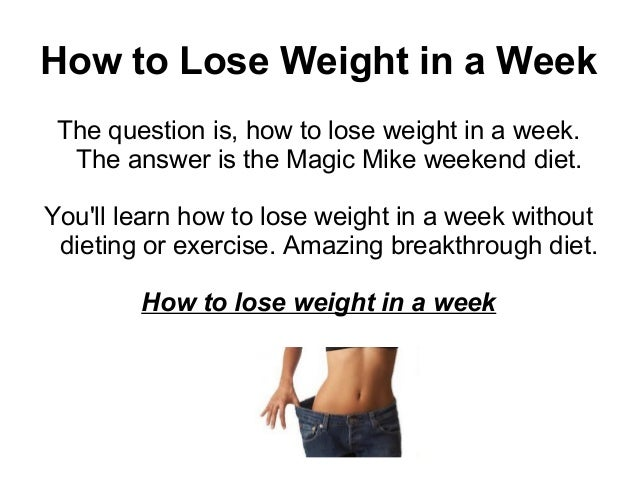 How to Lose Weight in a Week zVfVLHvz