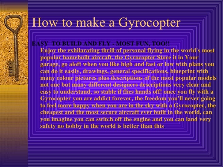 How To Make A Autogyro Gyrocopter